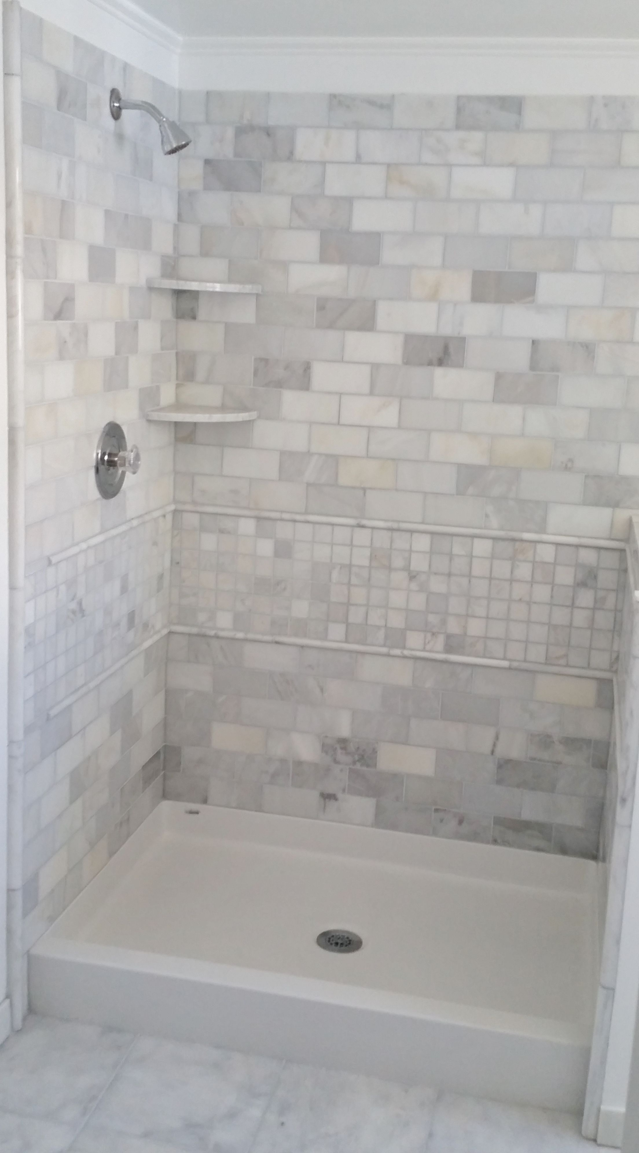 Image Result For Gray/blue Tile Stall Shower Bathroom