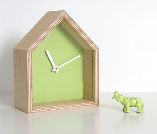 The Albert clock by German designer Sven Stornebel is not just a clock – it's a showcase as well. Each house-shaped clock comes with a resident by way of a small plastic toy in the same color. The toy can be put on display in the clock or sat out on its own.