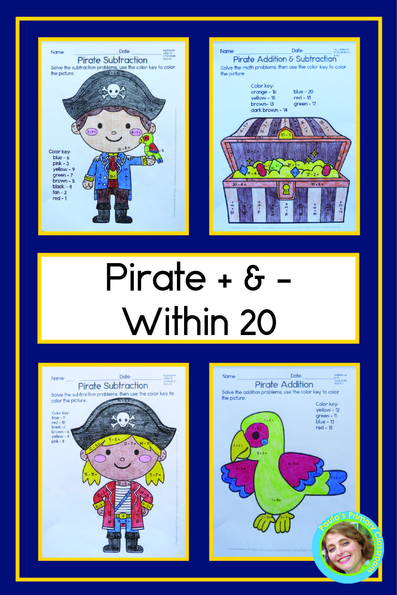 Pirate Addition And Subtraction Within 20 No Prep Worksheets For Math Fac Addition And Subtraction Practice Early Elementary Resources Addition And Subtraction [ 2250 x 1501 Pixel ]