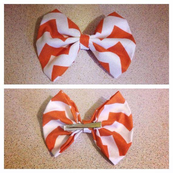 Orange & White Chevron Zig Zag Fabric Hair Bow Clip #hairbow #bow ...