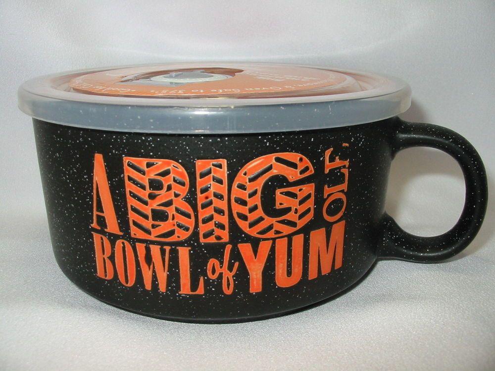 Microwave Souper Soup Coffee Mug Bowl 5 1 2 Steam Lid Of Yum Black Bostonwarehousetradingcorp