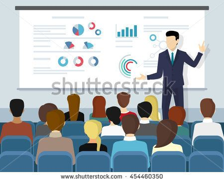 business seminar speaker doing presentation and professional