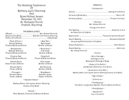 Creative Wedding Programs  Catholic Wedding Program Template And
