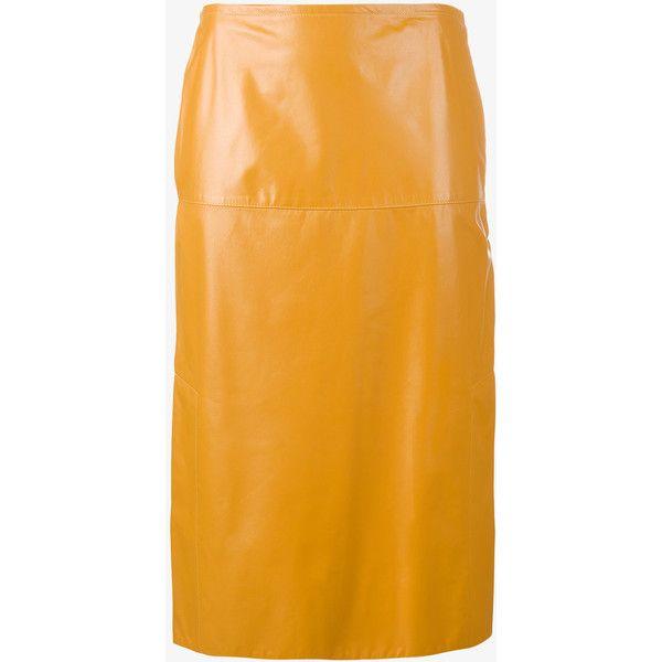 b9061ac6bf Marni high waisted straight skirt (18.843.610 IDR) ❤ liked on Polyvore  featuring skirts, marni, slit skirt, marni skirt, high-waist skirt and high- waisted ...