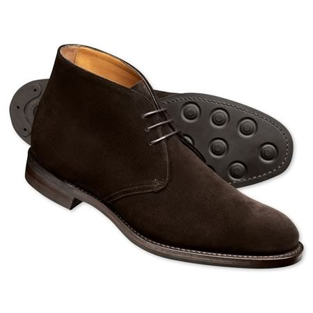brown suede chukka boots with a faux dainite sole  suede
