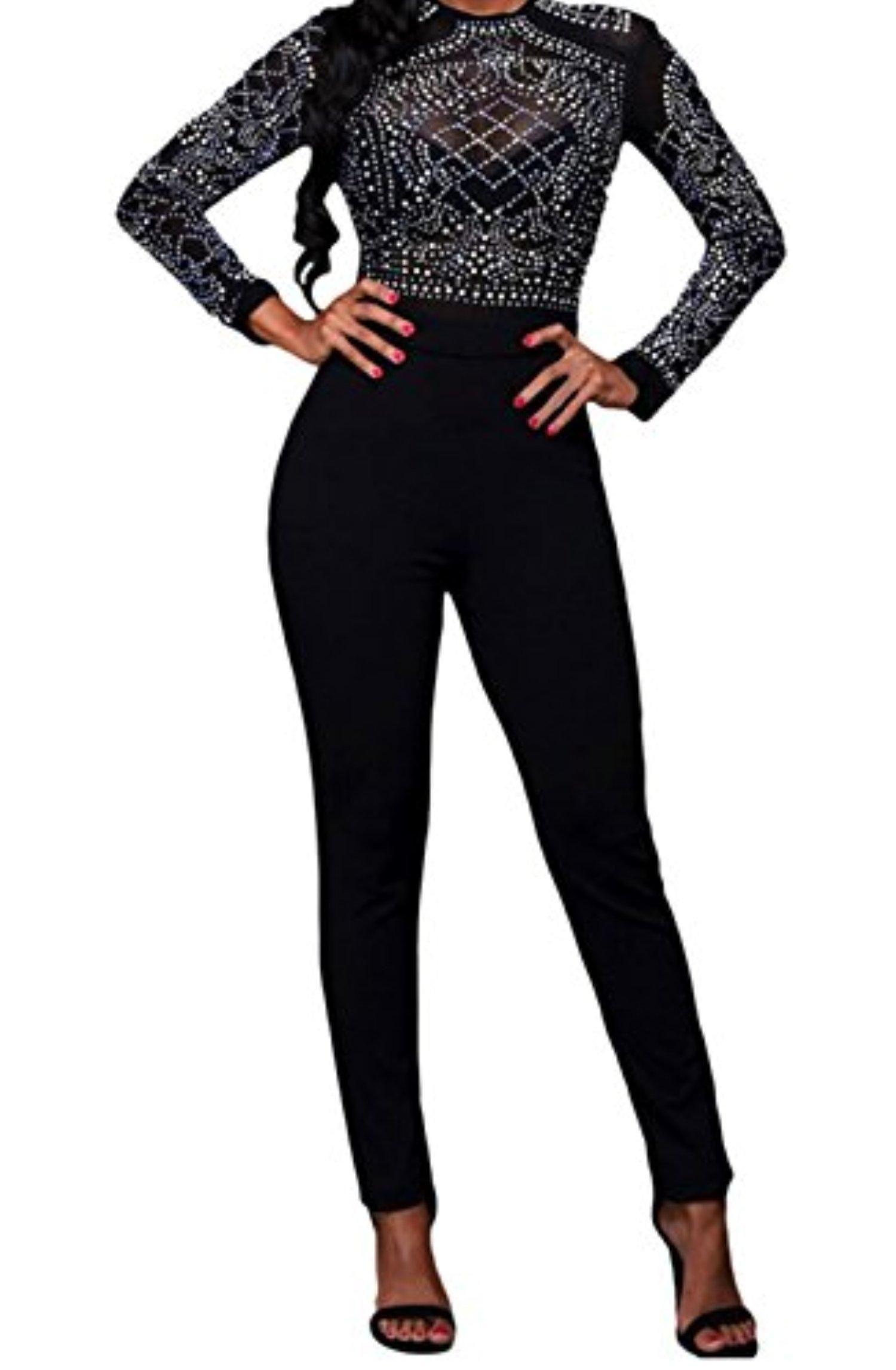Yeeatz long sleeves rhinestone mesh bodice formfitting jumpsuit