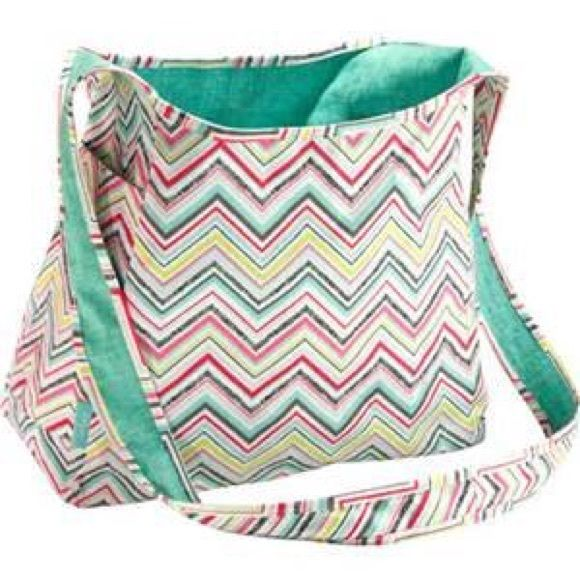 New Thirty One Inside Out Bag Party Punch Never Used Reversible Sling Chevron Reverses To Turquoise Bags