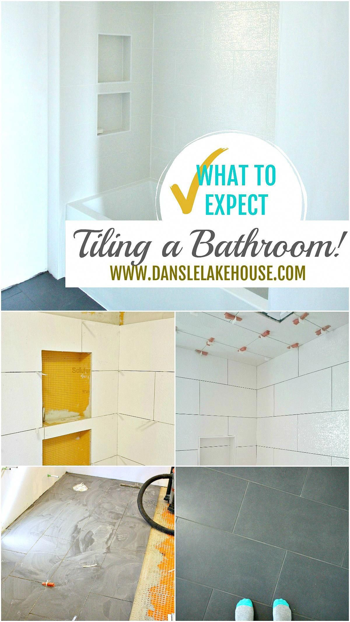 What to Expect Tiling a Bathoom - see the process, how long it takes, the problems we had and what we're so happy with! #tiling #bathroom #renovating #bathroomdiyfurniture