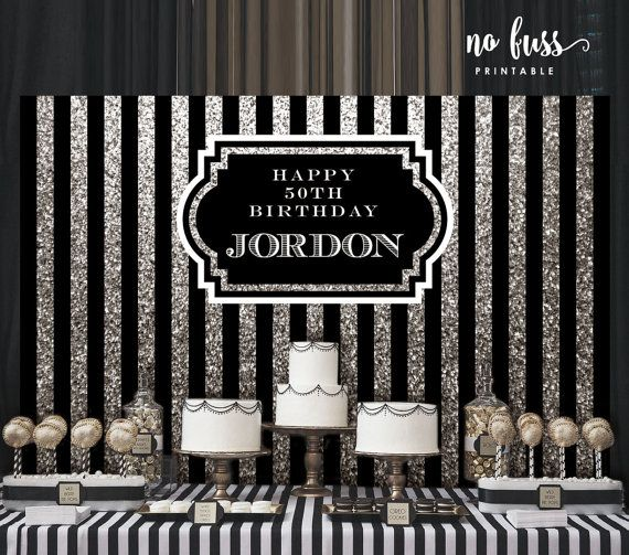 Silver And Black Backdrop Adults Party Banner Poster Signage