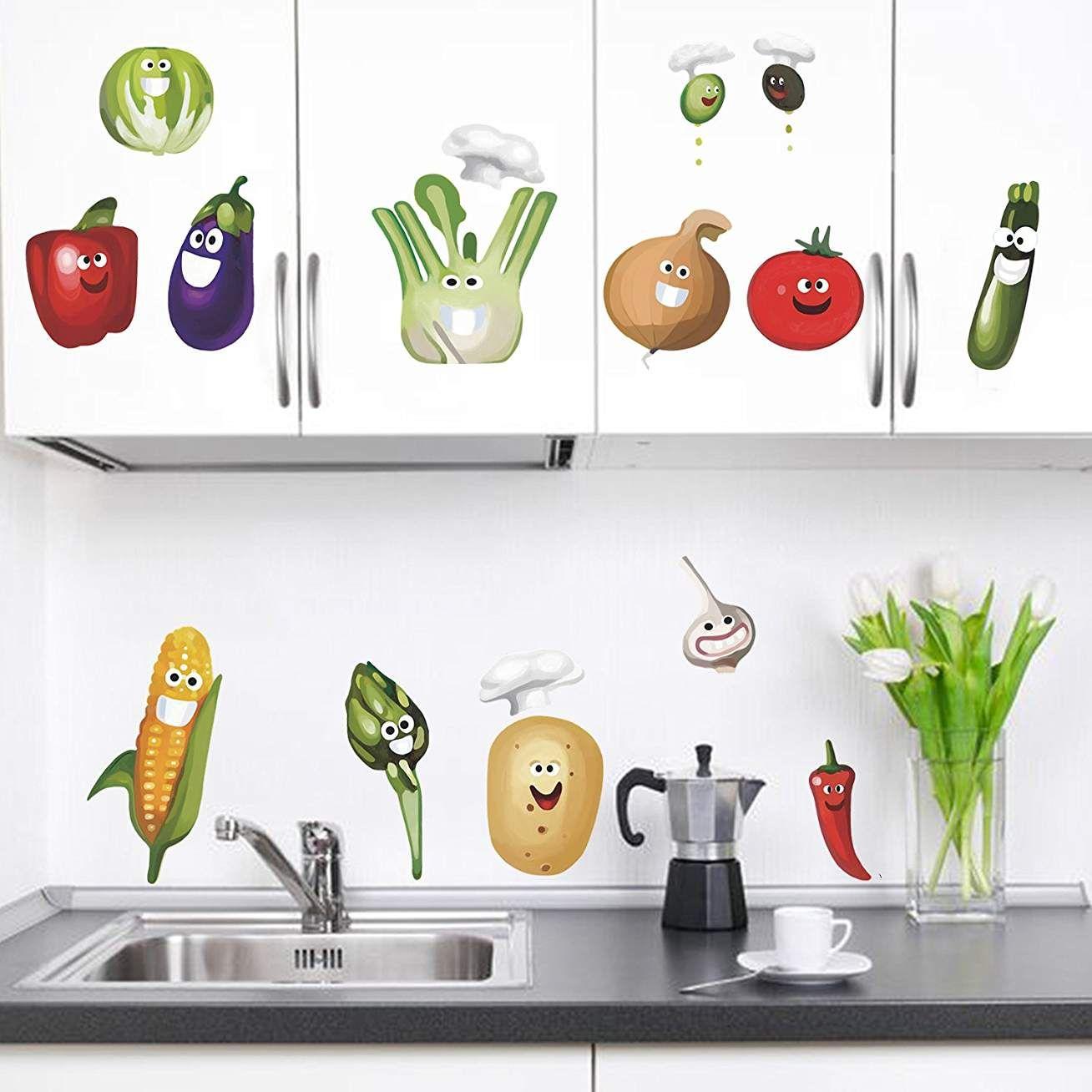 decalmile L/égumes Cuisine Stickers Muraux Dr/ôles Ma/ïs Chili Fruits Amovible Vinyle Stickers Muraux pour Cuisine Salle /À Manger
