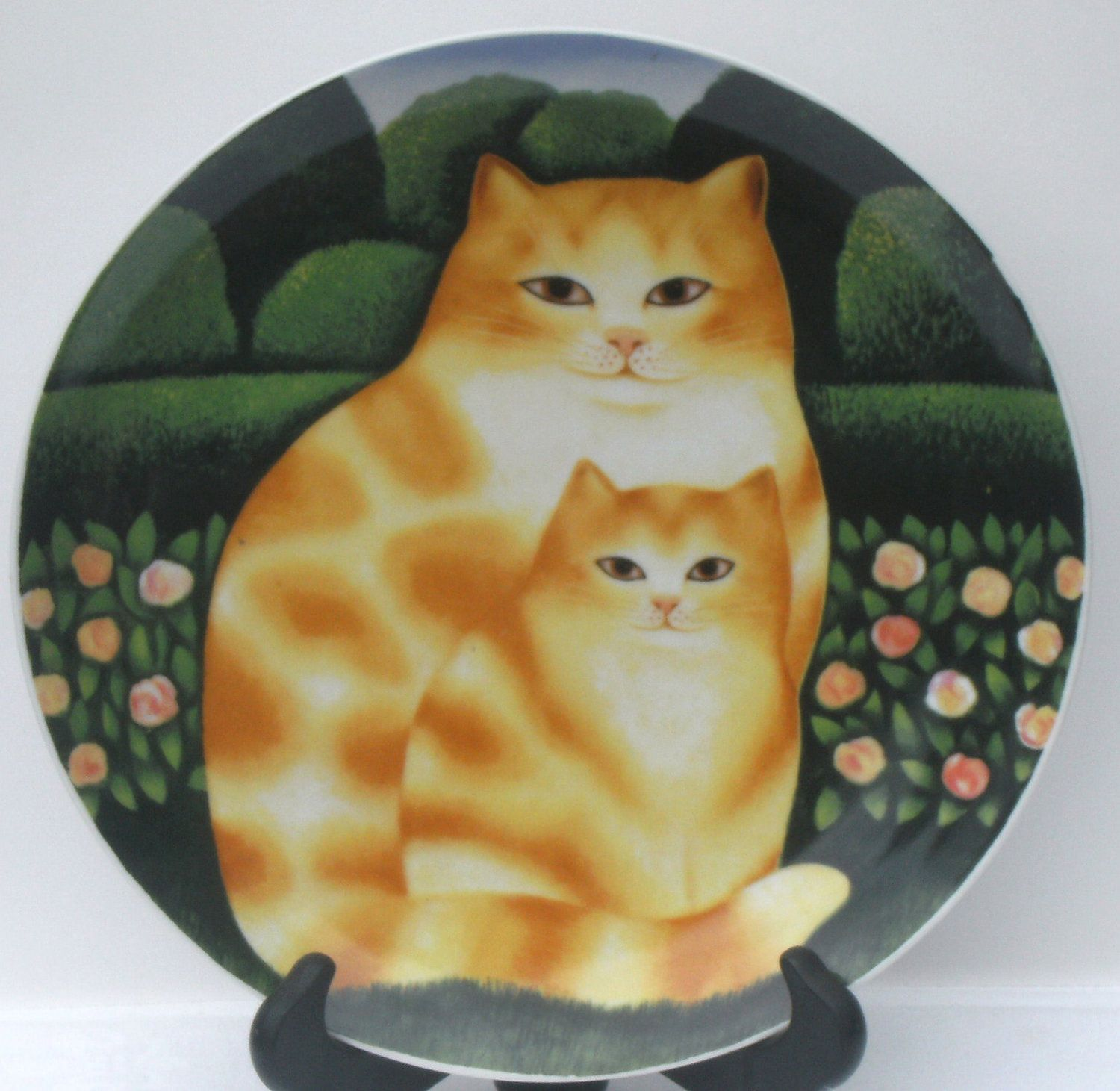 Vintage decorative transferware red tabby cat plate by for Vajilla animales