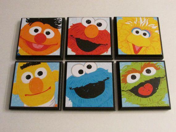 Sesame Street Kids Room Wall Plaques Set Of 6 Sesame Street Room