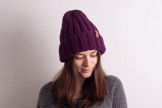 2276e2a048d Purple Knit hat - Slouchy Beanie Women. Oversized beanie. Oversized ...