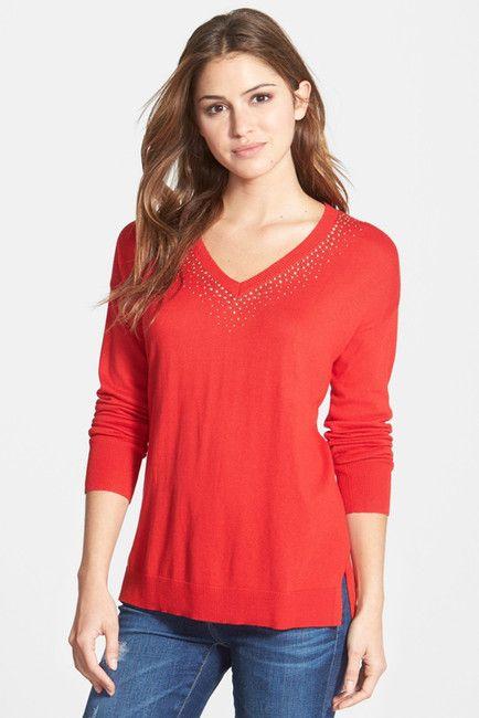 Studded V-Neck Sweater