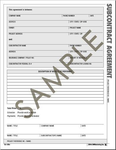 Atlas Construction Business Forms - Save time and money with the - subcontractor contract template
