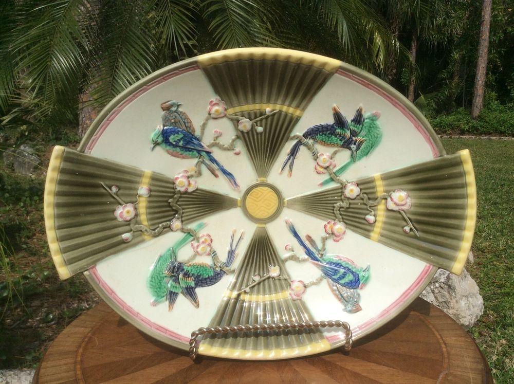 Sublime Antique Wedgwood Birds & Fans Majolica Large Platter c1800's, em53 #BirdsandFans #Wedgwood