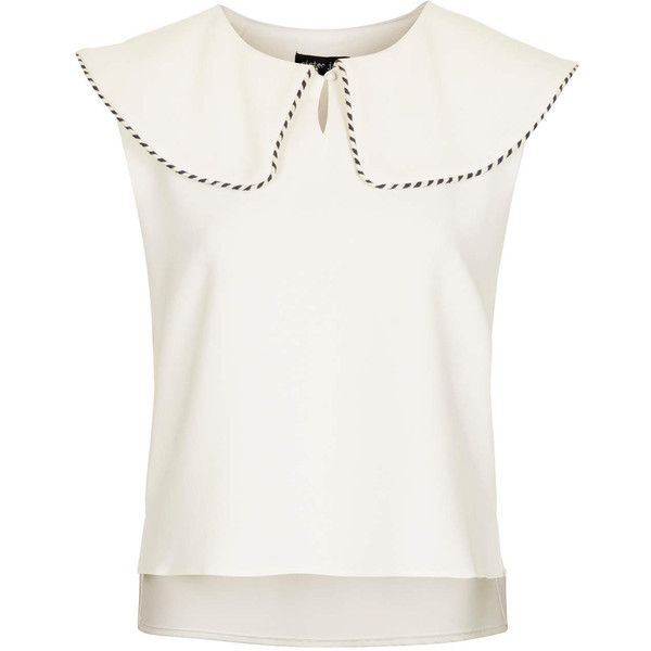 **Sailor Collar Blouse by Sister Jane (€56) ❤ liked on Polyvore featuring tops, blouses, ivory, ivory top, collar top, ivory sleeveless top, white sleeveless top and collared blouse