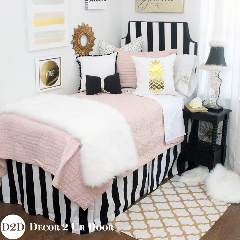 Blush, Black & Gold Fur Designer Teen Girls Bedding