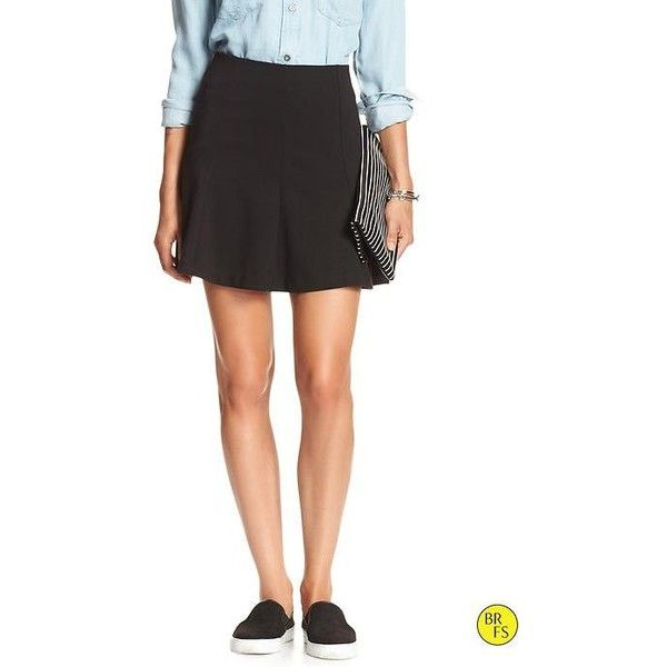 Banana Republic Womens Factory Mini Flare Skirt Size 8 Petite - Black ($38) ❤ liked on Polyvore featuring skirts, mini skirts, black skater skirt, mini skirt, black flared skirt, mini skater skirt and circle skirt