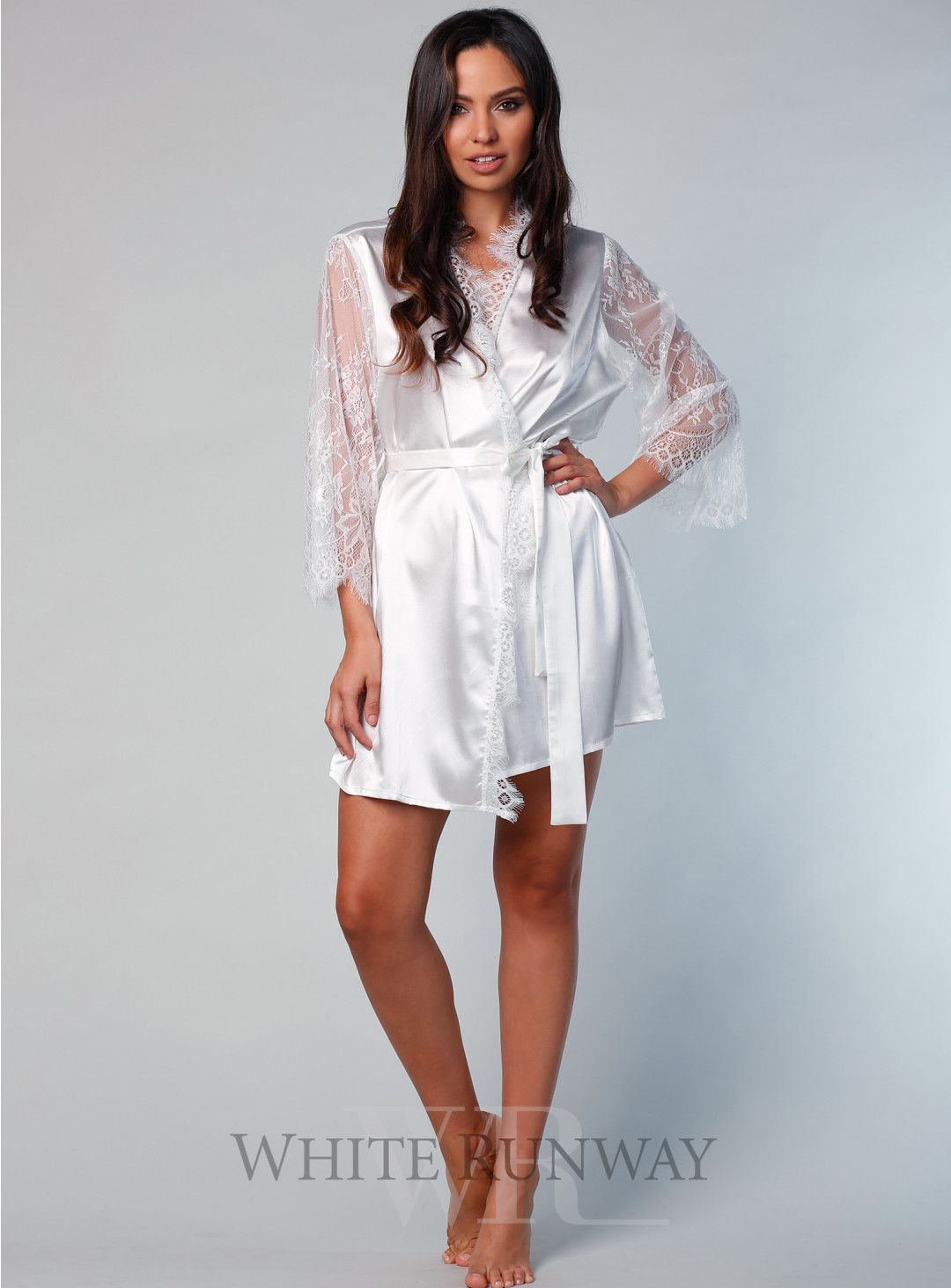 7b4b82e9e6 Marsielle Satin Lace Robe By Samantha Rose