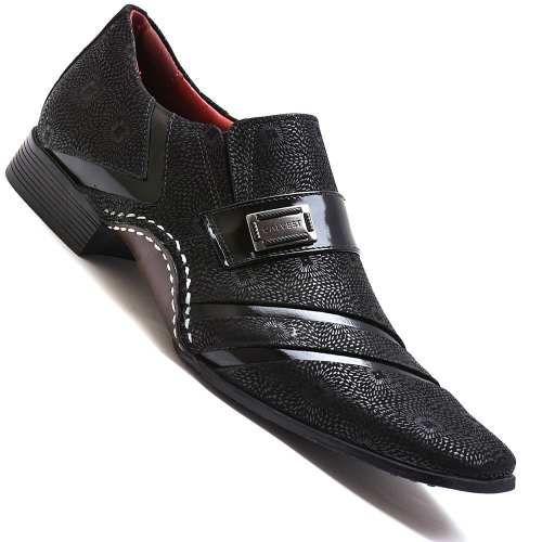 9c47bf32d2 Sapato Social Masculino Calvest Preto Detalhado Em Verniz - R  189