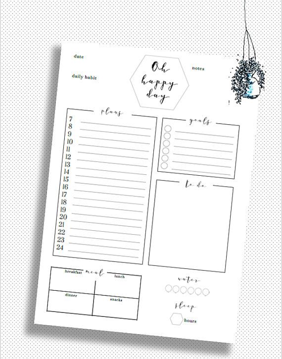 Daily Planner PRINTABLE // day organizer // A4 daily