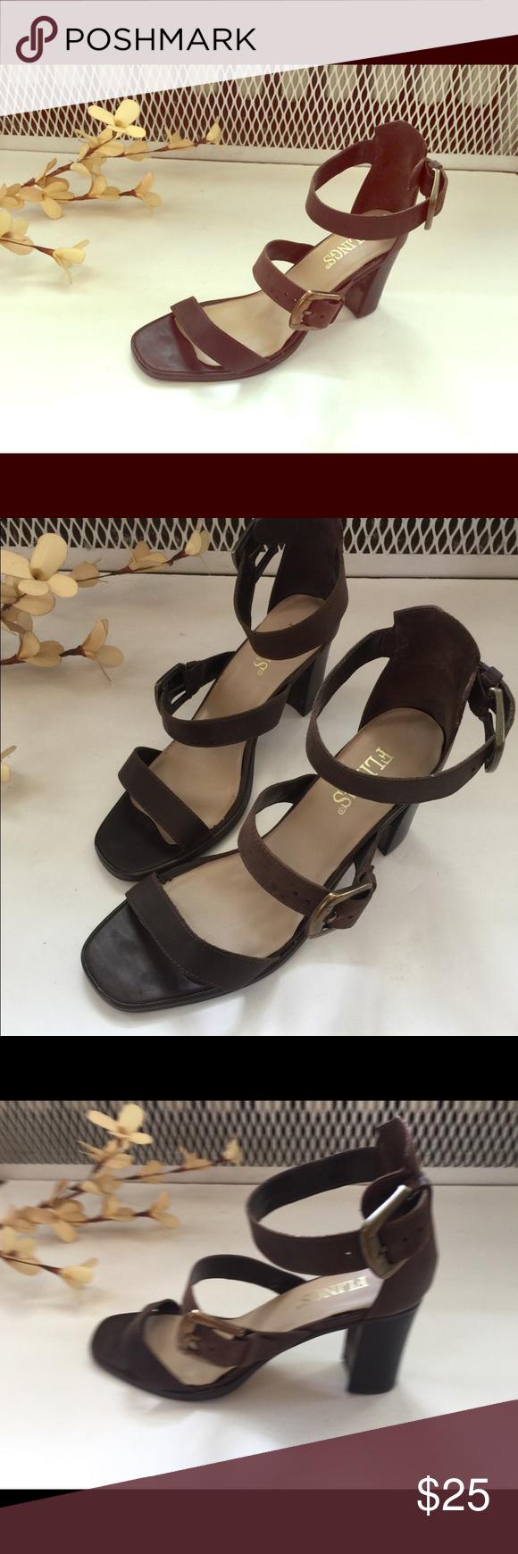 "Flings Leather Sandals Never worn leather sandals. Size 7. 3"" Heel. NWOB Flings Shoes Sandals"