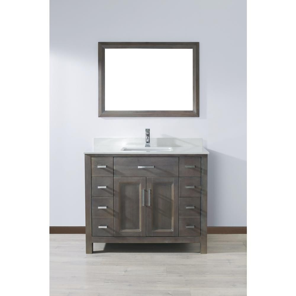 42 Inch French Gray Finish Bathroom Vanity With Images 42 Inch