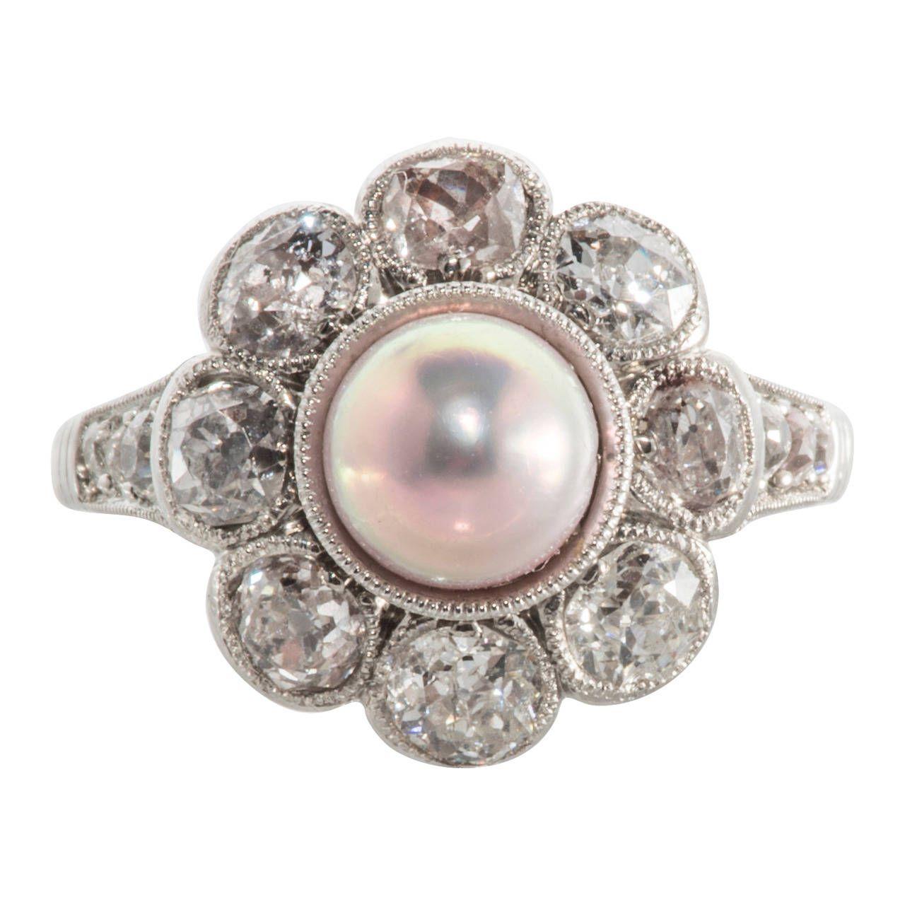 Natural Pink Pearl Diamond Platinum Cluster Ring