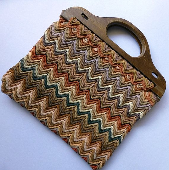 Vintage Crochet Bag With Wooden Handles Chevron Or Ripple Pattern Ombre Autumnal Colours Knitting Bag Pattern Crochet Purses Knitted Bags