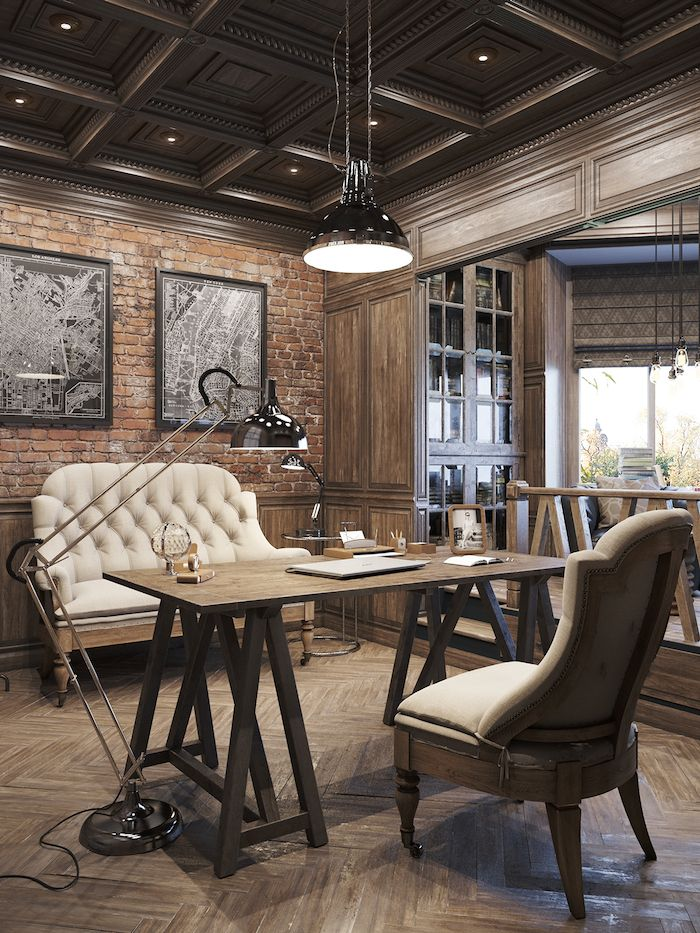 Interiors office designs rustic office and interiors Industrial home office design ideas