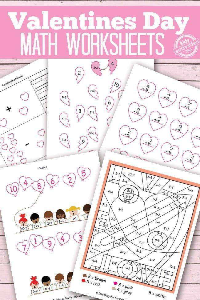 VALENTINES DAY MATH WORKSHEETS {FREE KIDS PRINTABLES | Simple ...