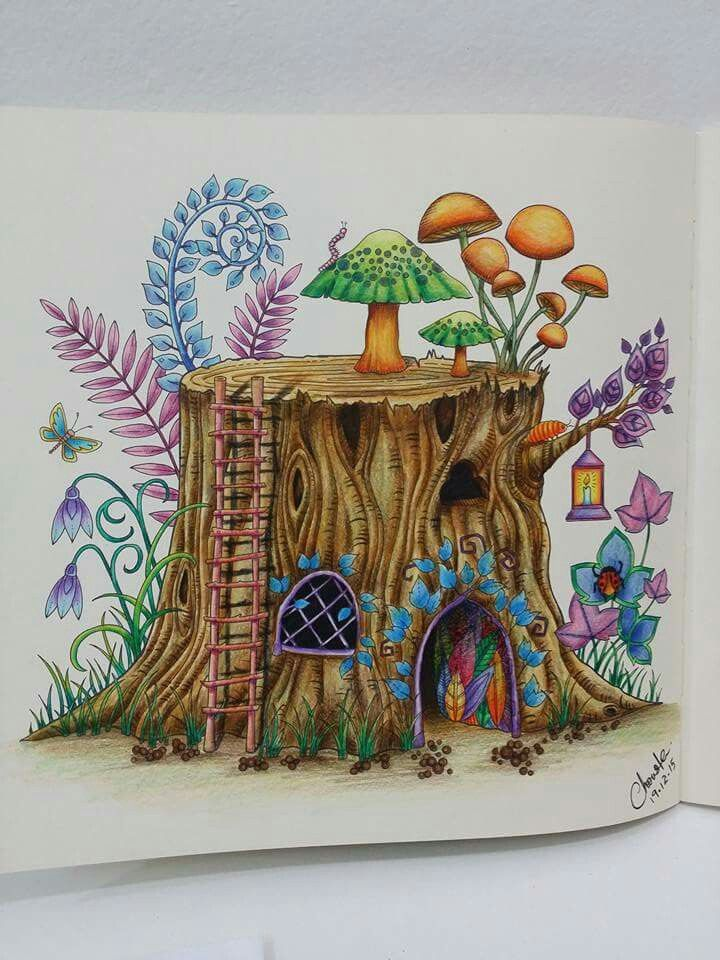 Stump enchanted forest | Enchanted forest coloring ...