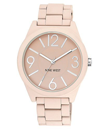 7737d90ee6a4 Nine West Womens NW1679PKPK Matte Pink Rubberized Bracelet Watch -- Want to  know more