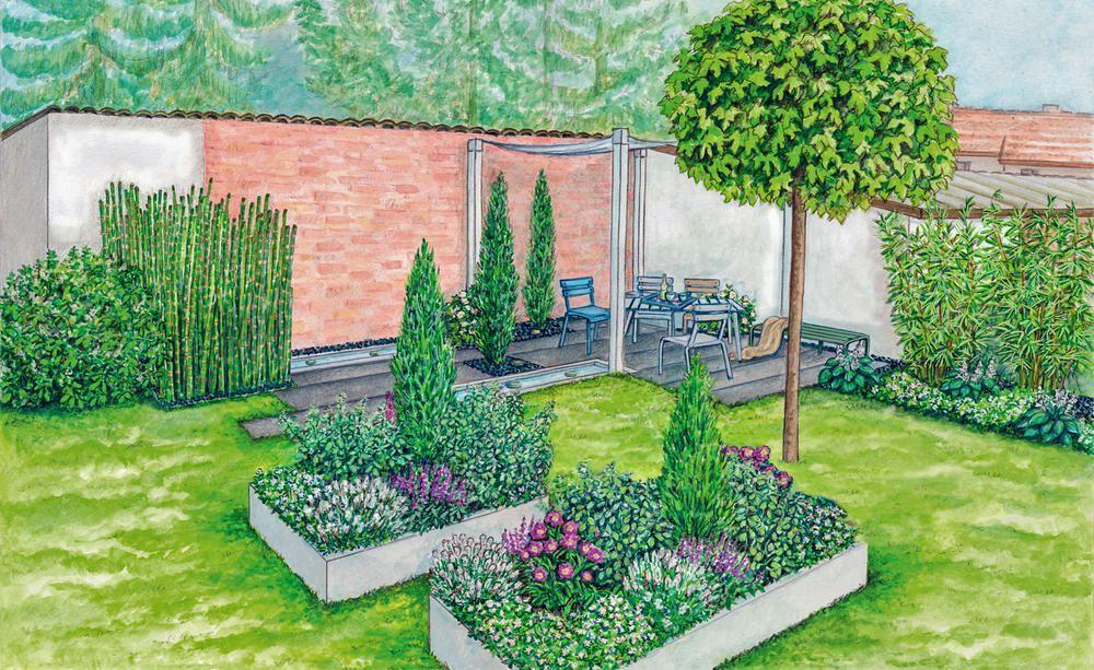 Geschützte Sitzecke vor einer Mauer Garten - garten gestalten mediterran