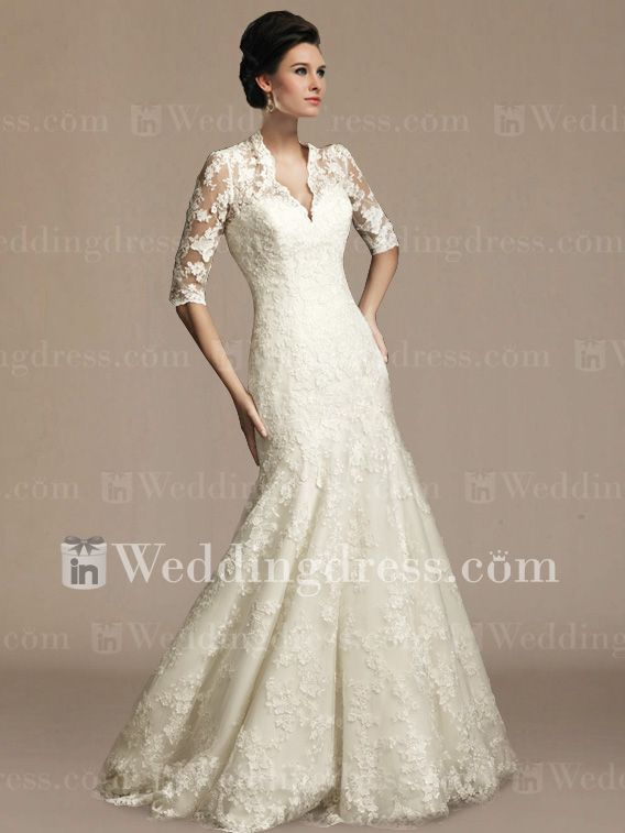 Modest Lace Appliqued Mermaid Wedding Gown with Sleeves DE302 ...