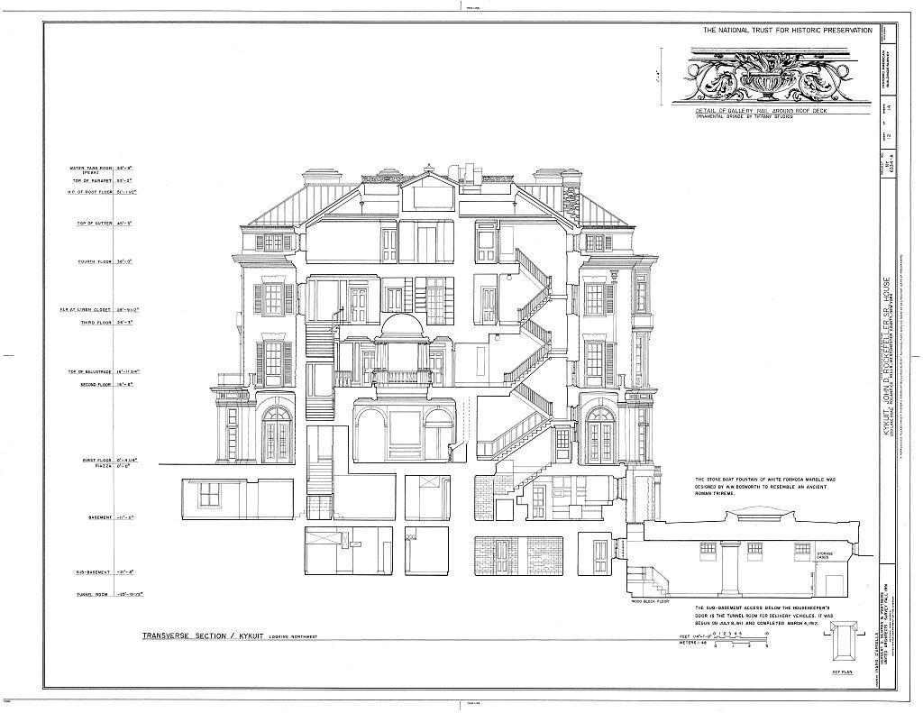 165 Eaton Place Floor Plan 04 10 Kykuit Rockerfeller S Estate Cross Section