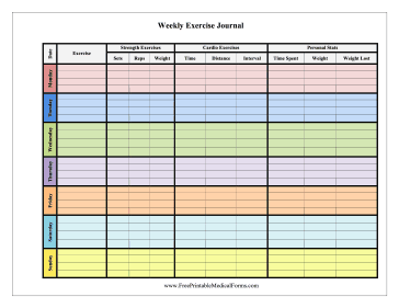 This free, printable, weekly exercise journal color-codes strength ...