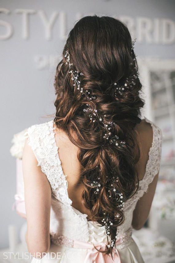 BOHO 2020 Braut Super Extra lange Perle Haar Rebe 0,45-1,5 Meter, Verlobung Hochzeit Haar Rebe, Prom Braut Perle Haar Rebe Zubehör