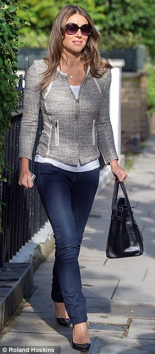 Elizabeth Hurley outfit with jeans and blazer