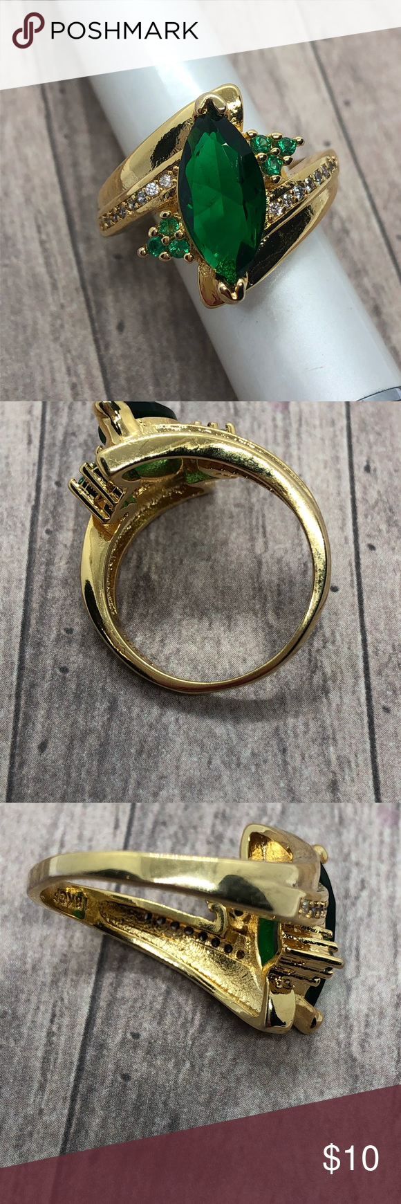 Emerald 10k Gold Filled Costume Ring Size 8 Costume Rings Womens Jewelry Rings Gold