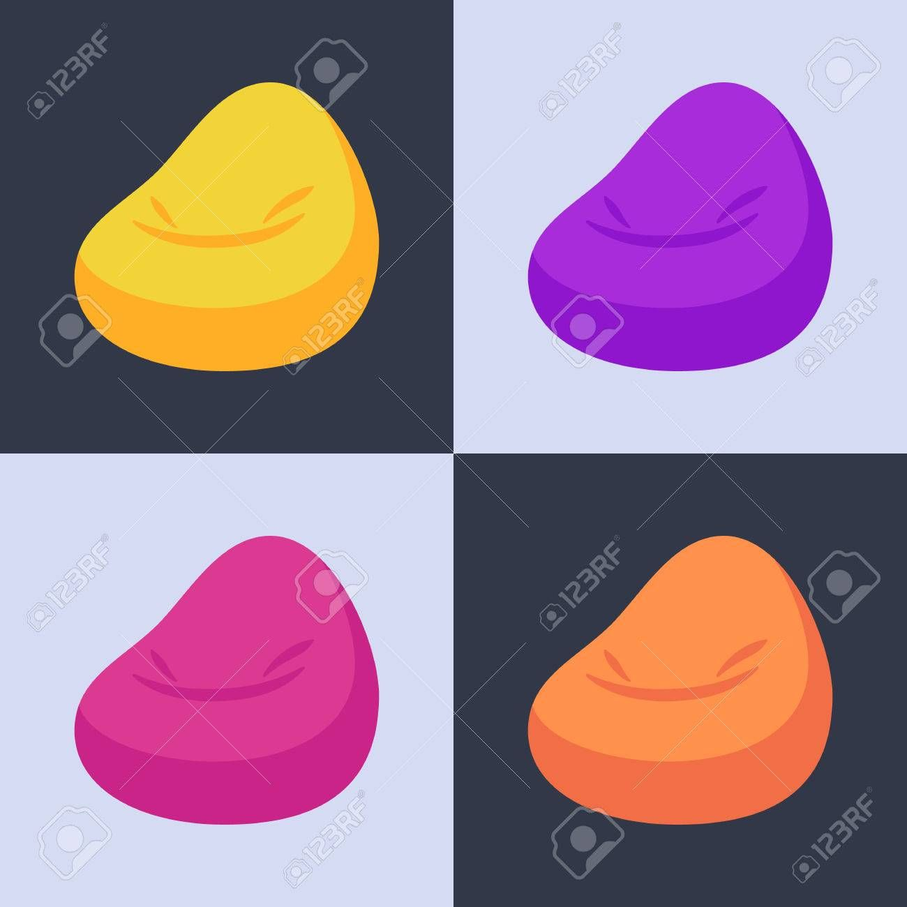 Vector illustration of bean bag chair with 4 color options ,