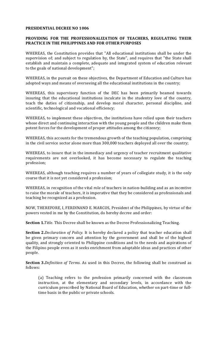 Presidential Decree No 1006providing For The Professionalization