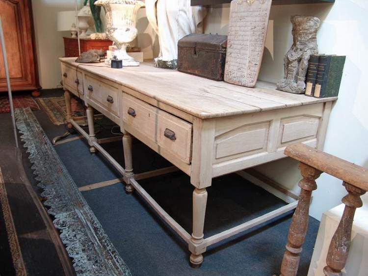 Large French Antique Work Table In Oak Sold Kitchen Island