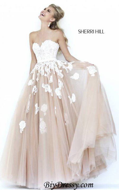 Strapless Sherri Hill 11200 Ivory Nude Lace Applique Prom Dress ...