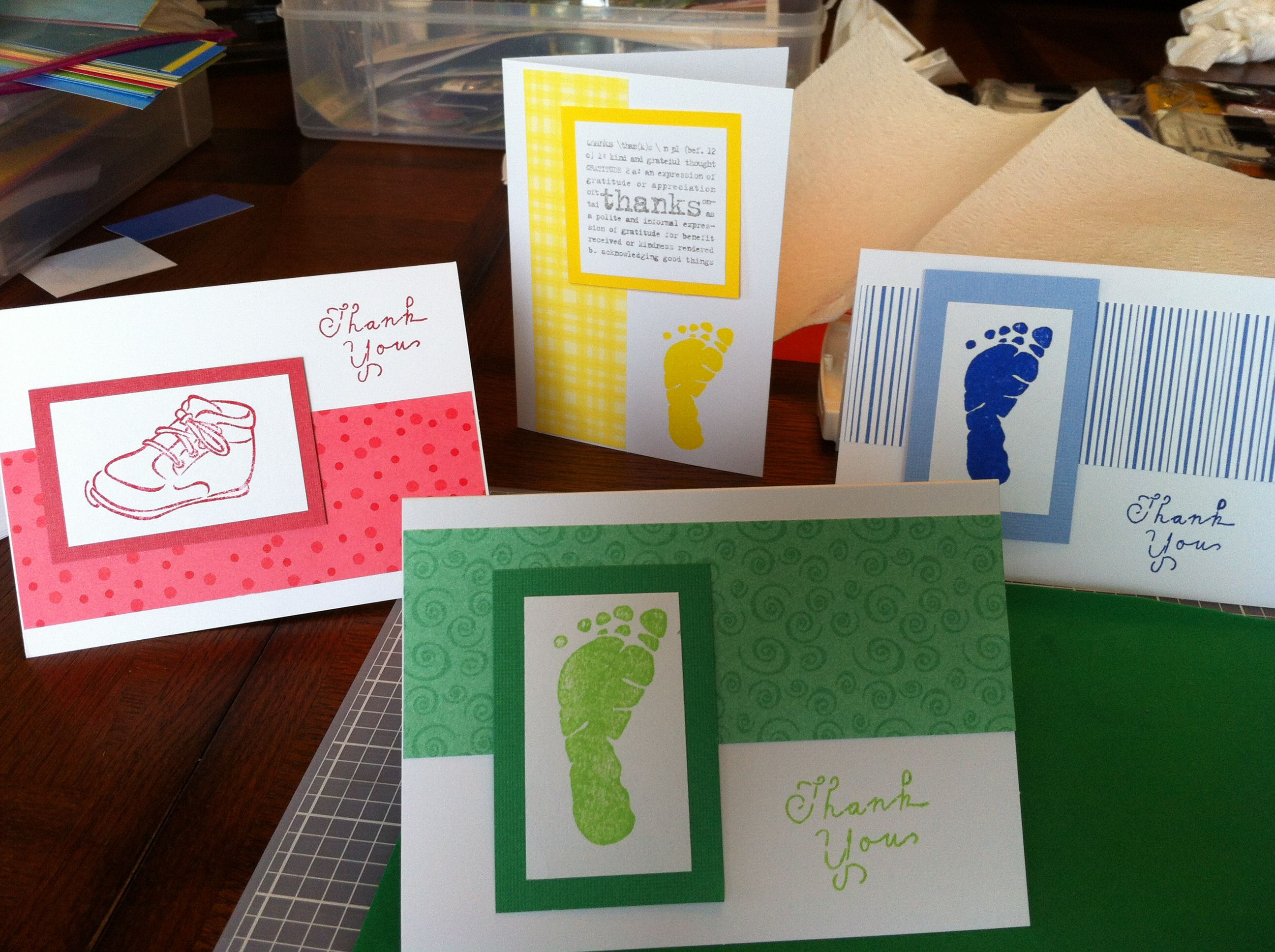 stampin' up thank you cardspreparing for upcoming baby