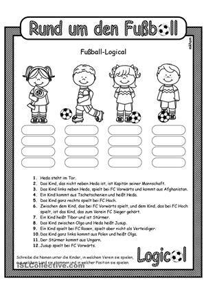 Arbeitsblatt zum LeseverstehenLogical zum Thema FußballName und ...