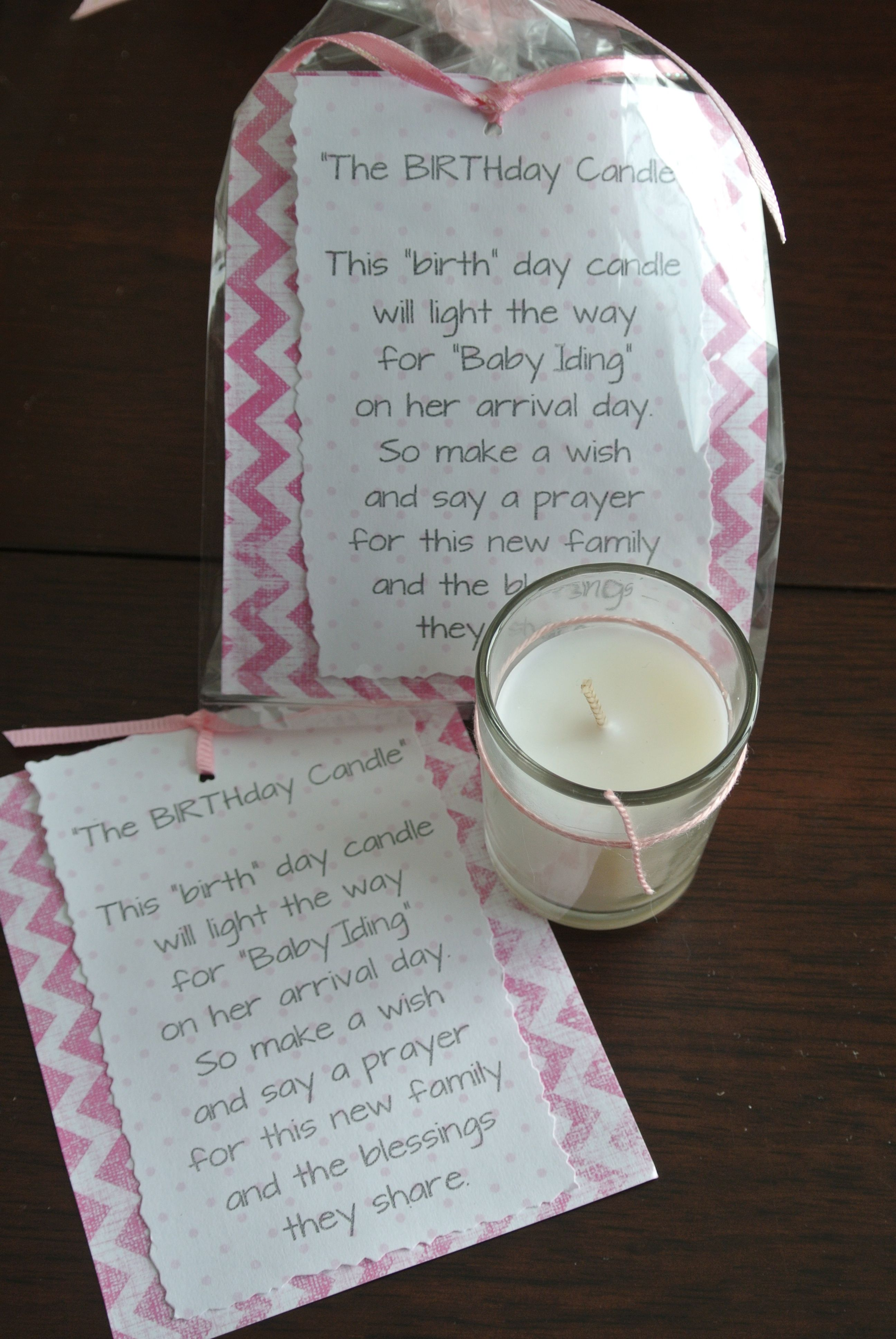 A BIRTHday candle shower favor