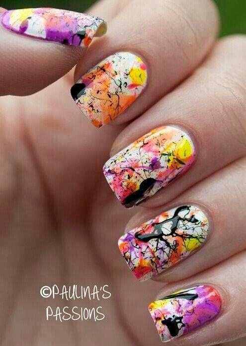 Paint Splattered Nails Nails Nails Pinterest Paint Splatter