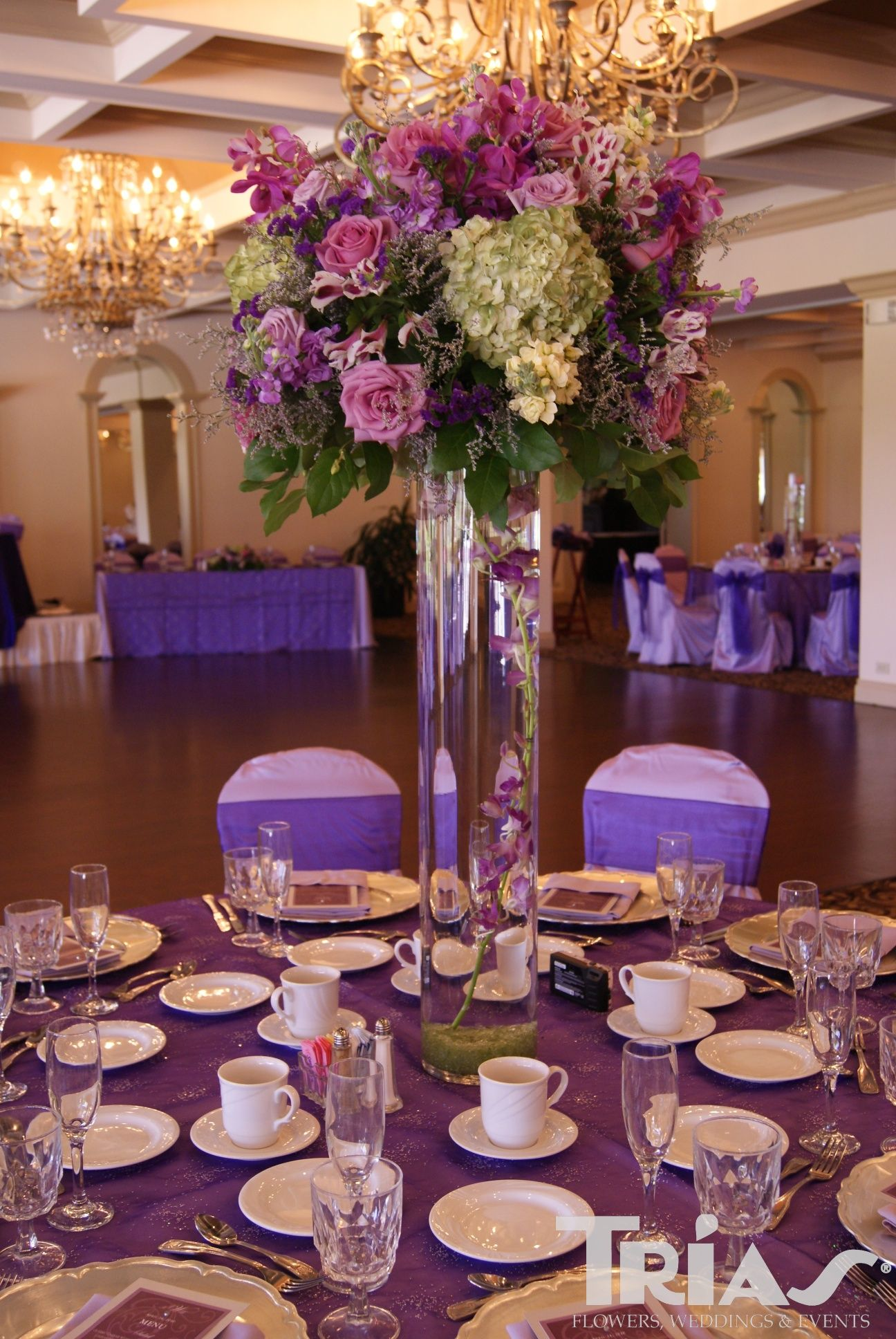 Purple Wedding Theme Ideas Tall Centerpiece With Submerged Purple